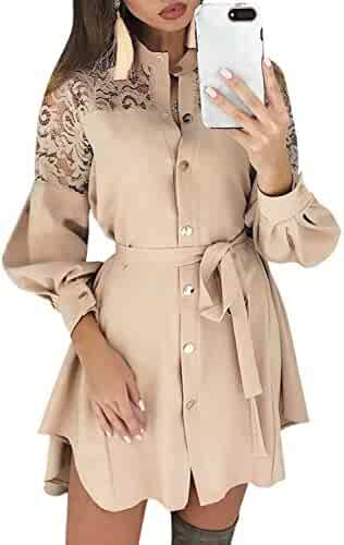 940c23a1 Miessial Women's Long Sleeve Chiffon Mini Dress V Neck Tie Waist Shirt Dress