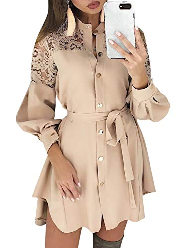 Miessial Women's Embroidery Lace Long Sleeve Mini Dress Hollow Out Short Dress with Belt Beige 8 ()