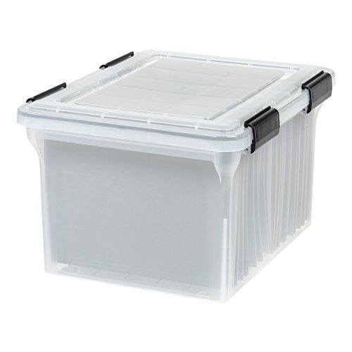 IRIS Letter and Legal Size WEATHERTIGHT File Box, Clear - Hanging File Tote