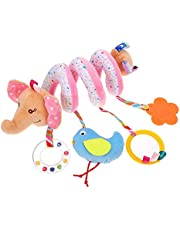 TOYANDONA Baby Bed Hanging Toy Spiral Plush Crib Toys Infant Rattle Cart Around Pendant Interactive Cartoon Animal Plaything for Kids Cot Stroller Car Seat