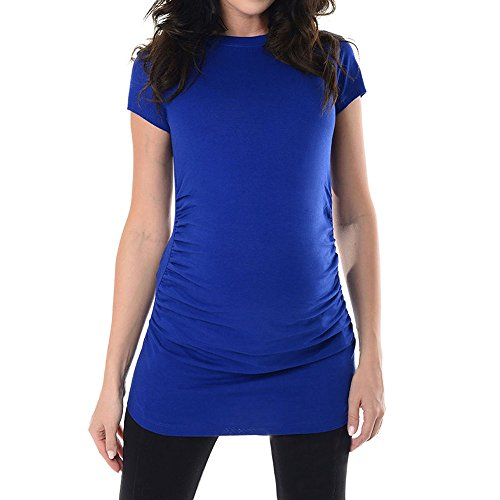 Birdfly Pregnant Gravida Plain T-Shirt with Round Collar Short Sleeves Women Tops Blouse Shirt. (L, Blue)