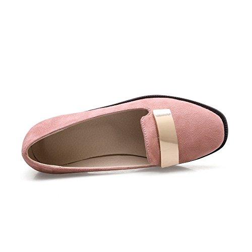 VogueZone009 Damen Rein Mattglasbirne Niedriger Absatz Ziehen auf Quadratisch Zehe Pumps Schuhe Pink