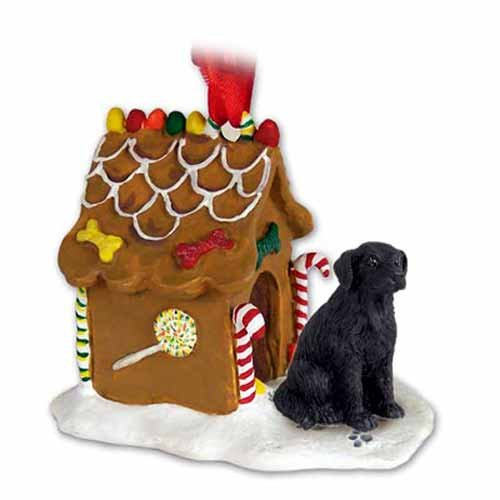 (Conversation Concepts Flat-Coated Retriever Gingerbread House Christmas Ornament - DELIGHTFUL!)