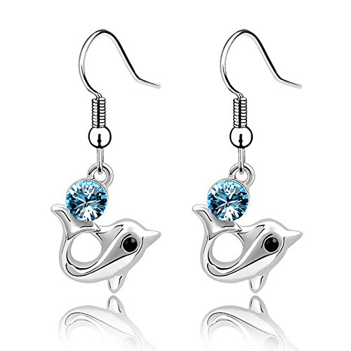 Silver Plated Long Dolphin Cubic Zirconia Drop Dangle Earrings Fashion Jewelry for Women and Girls (2 Dolphins-Tail-up Aqua Blue)