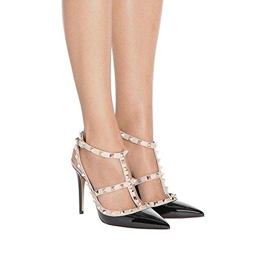 Parti Toe Haut Lutalica Femmes Pointu Talon Noir Stiletto Sexy Chaussures Strappy Sandales Clouté Brevet gwzRqp