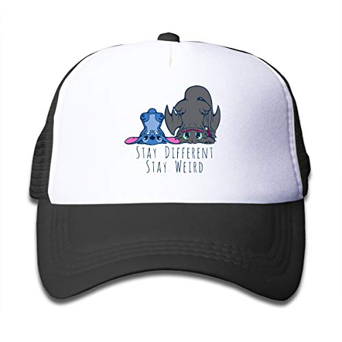 Kid's Youth Funny Toothless Dragon and Stitch Hat Mesh Hat Adjustable Baseball Cap Black]()