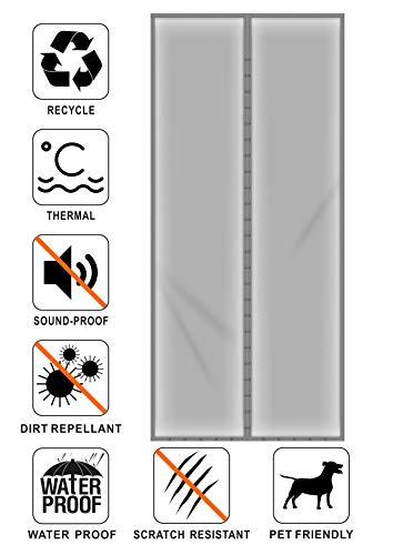 Liveinu Magnetic Thermal Insulated Door Curtain Storm Wind Fleece Insulation Curtian Magnetic Screen Door with Thermal Weatherproof Waterproof Anti Energy Loss Greyuce Noise 27