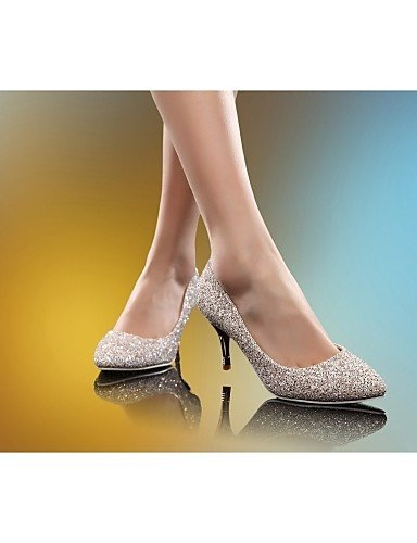 GGX/ Damenschuhe-High Heels-Hochzeit / Büro / Kleid-Kunstleder-Stöckelabsatz-Absätze-Weiß / Gold golden-us4-4.5 / eu34 / uk2-2.5 / cn33