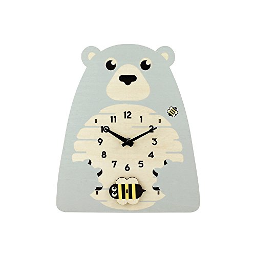 Cartoon Animals Non Ticking Boys Wall Clock for Kids,Wooden Clocks for Children Nursery Preschool Playroom Boys Girls Bedroom Decoration