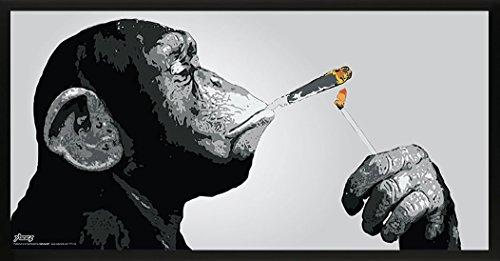 Steez Monkey Smoking a Joint Decorative Music Urban Graffiti Art Print (Framed 12x24 Poster)