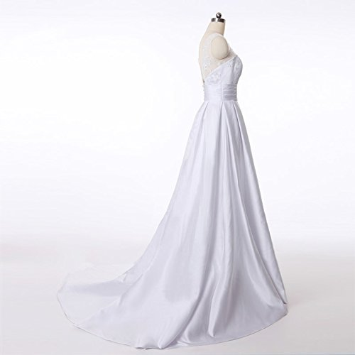 Amazon.com: Grace Satin with Lace Long Bridal Wedding Dresses White: Handmade