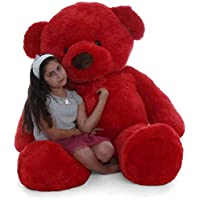 MSY TOYS Silk Teddy Bear Soft Toy for Girls, Boys, Friends (Red, 92 cm, 3 Feet) Get A ferr Lover ,s Ring