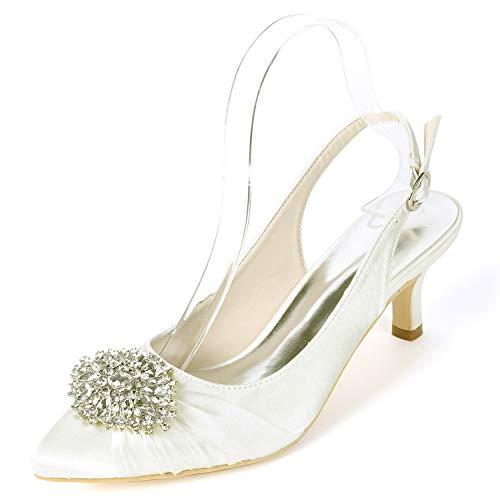 De Fy160 Ivory L Buckle Boda Altos Blanco yc Satin 6cm Las Mujeres Tacones Zapatos Platform Rhinestones 6FEPZqwF