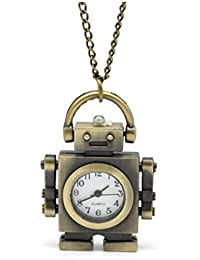 Steampunk MR Robot Pendant Necklace pocket time piece