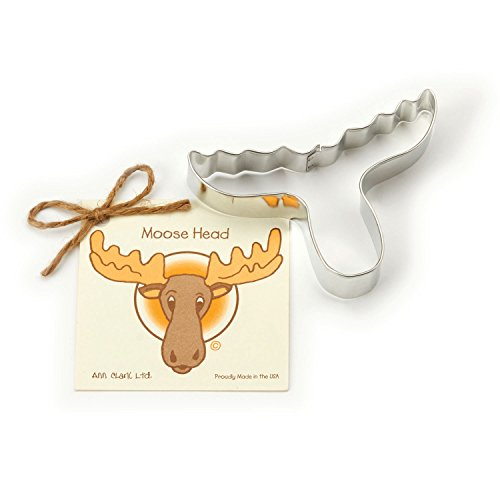 Moose Head Cookie and Fondant Cutter - Ann Clark - 4.9 Inches - US Tin Plated Steel]()