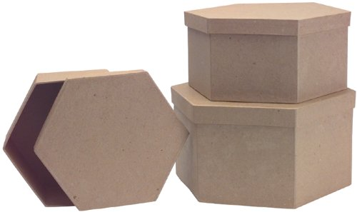 DCC Paper Mache Hexagon Box, 8-1/2-Inch by 7-1/2-Inch by 6-3/4-Inch, Set of 3