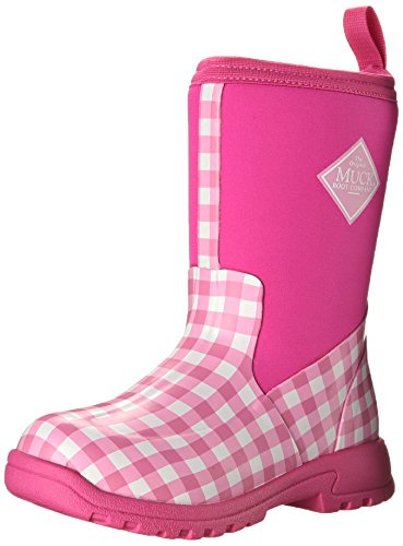 MuckBoots Girls' Breezy Mid Pull-On Boot Pink Gingham 13 M US Little Kid ()