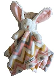 Blankets & Beyond Baby Bunny White Rabbit Pink Striped Blanket Nunu