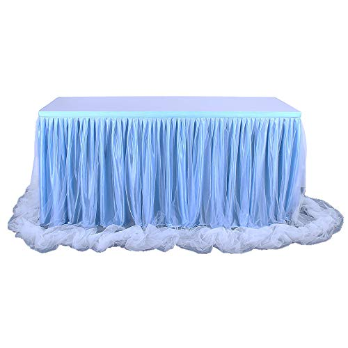 9ft Blue Table Skirt Threaded Ribbon Long Fluffy Mesh Tulle Table Skirt for Rectangle or Round Tables Baby Shower Wedding Birthday Party Decorations (Blue, 3 Yards)