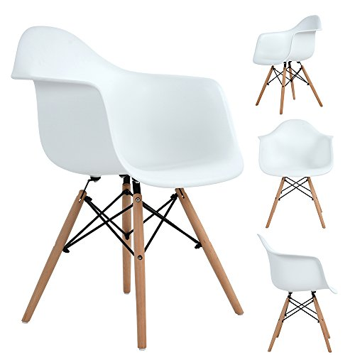 Dorafair Modern Set of 4 Dining Armchairs Eames Style Plastic Lounge Chairs with Natural Wood Legs Plastic Shell for Dining Room Bedroom Reception Area Kitchen,White by Dorafair