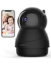 ORRETTI X8 1080p WLAN IP-camera, wifi bewakingscamera met bewegingsdetectie - HD babyfoon met camera - nachtzicht, 2-weg audio