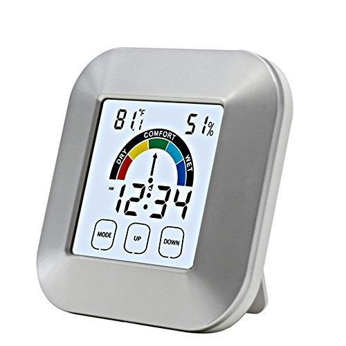 Price comparison product image AOLVO Digital Indoor Thermometer Smart Touchscreen Temperature Humidity Monitor Desktop Bedside Weather Forecast Clocks with Alarm Colck, Time Display,  Comfort Level Indicator