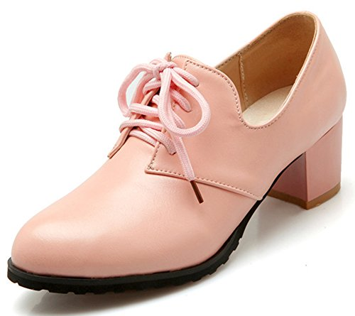 Toe Pink Vintage Lace IDIFU Shoes Pointed Women's Mid Oxfords Block Heels Up CTaqtan5