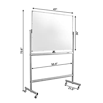 """Mobile Dry Erase Magnetic Whiteboard--47""""(W) x 36""""(H) -- Double Sided with Easy Flip Feature"""