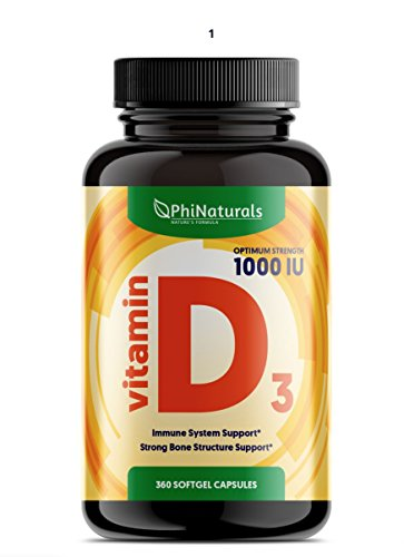 Vitamin D3 1000 IU - Cholecalciferol from Lanolin - Virgin Olive Oil for Maximum Absorption - Sunshine Vitamin for Immune and Mood Support - Healthy Bones Muscle Teeth [360 Easy-to-Swallow Softgels]