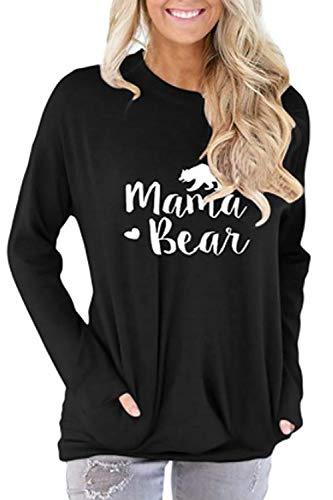ALBIZIA Women's Round Neck Mama Bear Sweatshirt Tunic Blouse with Pocket 2XL Black