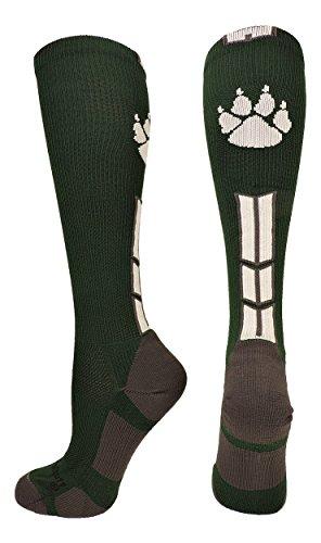 MadSportsStuff Wild Paw Over The Calf Socks (Dark Green/White, Small)