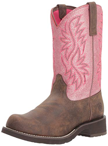 (Ariat Women's FATBABY HERITAGE TALL Boot, toasted brown/bright pink crackle, 6.5 B US )