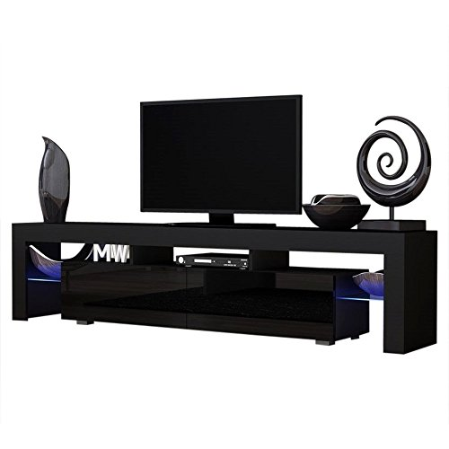 Moderna Console Tv - Concept Muebles TV Stand Milano 200 Black Body/Modern LED TV Cabinet/Living Room Furniture/Tv Cabinet fit for up to 90-inch TV Screens/High Capacity Tv Console for Modern Living Room (Black & Black)