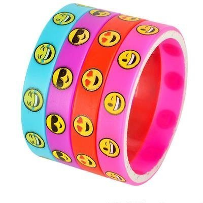 Emoji Smile Emoticon Silicone Wristband Bracelets (Multi, 75 Pack) by Rhode Island Novelty