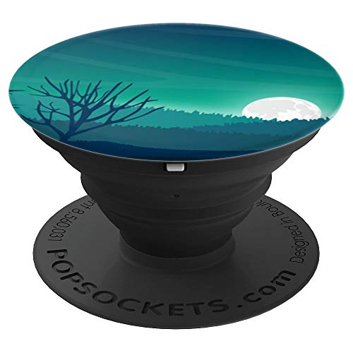 Moon Rise over Rolling Hills with Tree - PopSockets Grip and Stand for Phones and Tablets ()