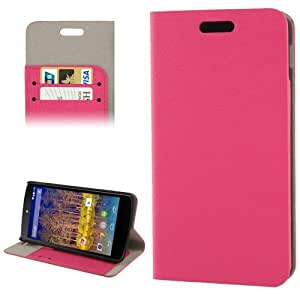 Wood Texture Horizontal Flip Leather Case with Credit Card Slot & Holder for Google Nexus 5 / LG E980 (Magenta)
