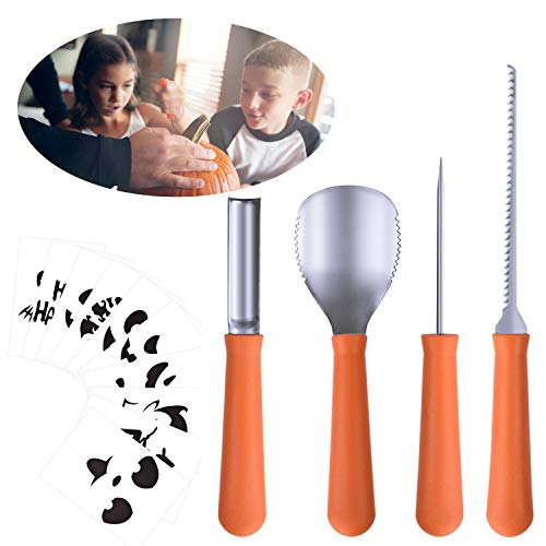 Halloween Pumpkin Carving Tools[Set of 4], LKDEPO Premium Stainless Steel Pumpkin Carving Set[10 Different Pumpkin Carving Pattern Templates] -