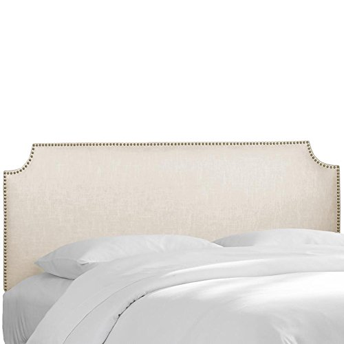 Skyline Furniture Full Notched Nail Button Headboard in Linen (Notched Full Headboard)