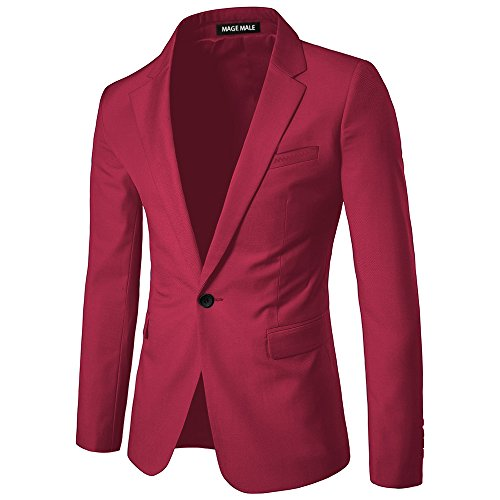 MAGE MALE Men's Slim Fit Blazer Casual One Button Flap Pockets Business Solid Sport Suits Jacket