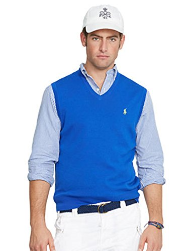 RALPH LAUREN Men V Neck Pima Sweater Vest Size S (Ralph Lauren V-neck Sweater Vest)