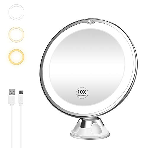 7X Magnifying Mirror with Lights, Flexible Mirror as seen on TV, Powerful Suction Cup, 360° Swivel Flexible Gooseneck…