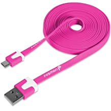 Fosmon (1.8m / 6ft) Vivid Flat Micro USB Cable [Tangle Free]for Samsung Galaxy, HTC, Xperia, Motorola, LG, Lumia, Blackberry, Blu Smartphones, Xbox One/PS4 controllers (Hot Pink)