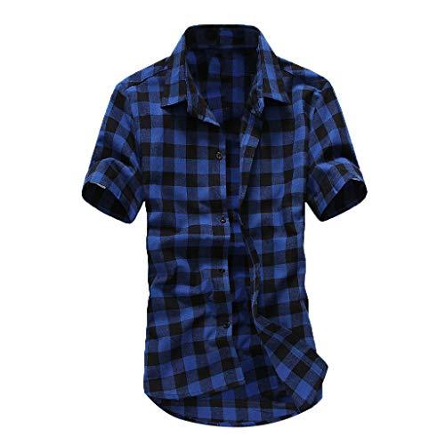 vermers Mens Plus Size Shirts Casual Short Sleeve Lattice Plaid Painting Button Down Shirt Top Blouse(XL, Dark Blue)