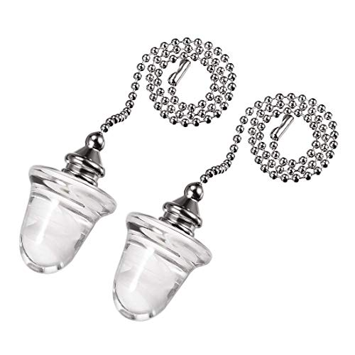 ZCHXD Acorn Glass Pendant 12 inch Brushed Nicke Finish Silver Tone Pull Chain for Lighting Fans Pack of - Glass Fan Acorn