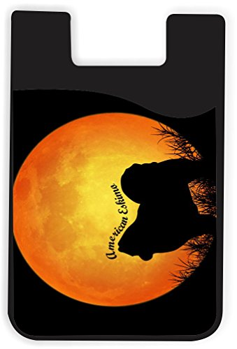 n Eskimo Dog Silhouette by Moon Design Silicone Phone Card Holder Wallet for iPhone/Galaxy All Android Smartphones - with Removable Soft Microfiber Screen Cleaner ()