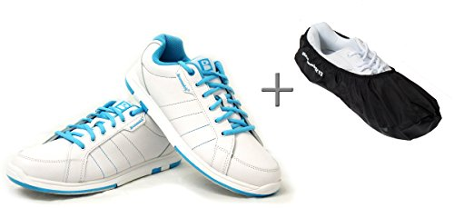 Bowling-Schuhe, Brunswick Satin + Shoe Cover (Überzieher) Brunswick Defense, Damenschuh, für Rechts- und Linkshänder, blau-weiß, white-aqua Schuhgröße 35 bis 41 (weiß-blau, 39,5 (US 9,5))