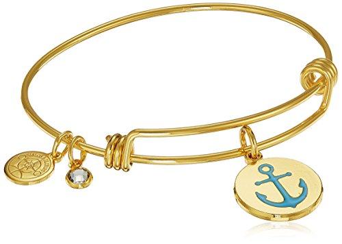 Halos & Glories, Anchor Shiny Gold Bangle Bracelet (Anchor Womens)
