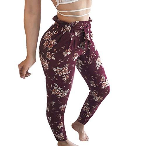 XL Leggings Femme Pantalon lgant Pantalon Mode Crayon Floraux Violet S Pantalons de Taille Casual Motifs lastique Slim tSZUP
