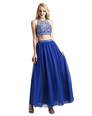 Bridesmay Women's Long Tulle Skirt Maxi Prom Evening Gown Two Way Formal Skirt