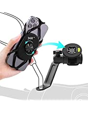 """Bone Motorcycle Phone Holder with Bike Tie Connect Kit, Motorcycle Phone Mount for Rear View Mirror, 360 Rotation Motorcycle or Bike Accessories for iPhone 13 12 11 Pro Max XS Samsung Galaxy S20 S10 S9 A71 A51, Fits 4.7"""" - 7.2"""" Phones (Black)"""
